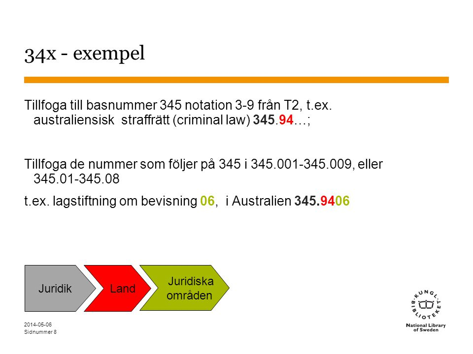 Sidnummer 8 34x - exempel Tillfoga till basnummer 345 notation 3-9 från T2, t.ex.