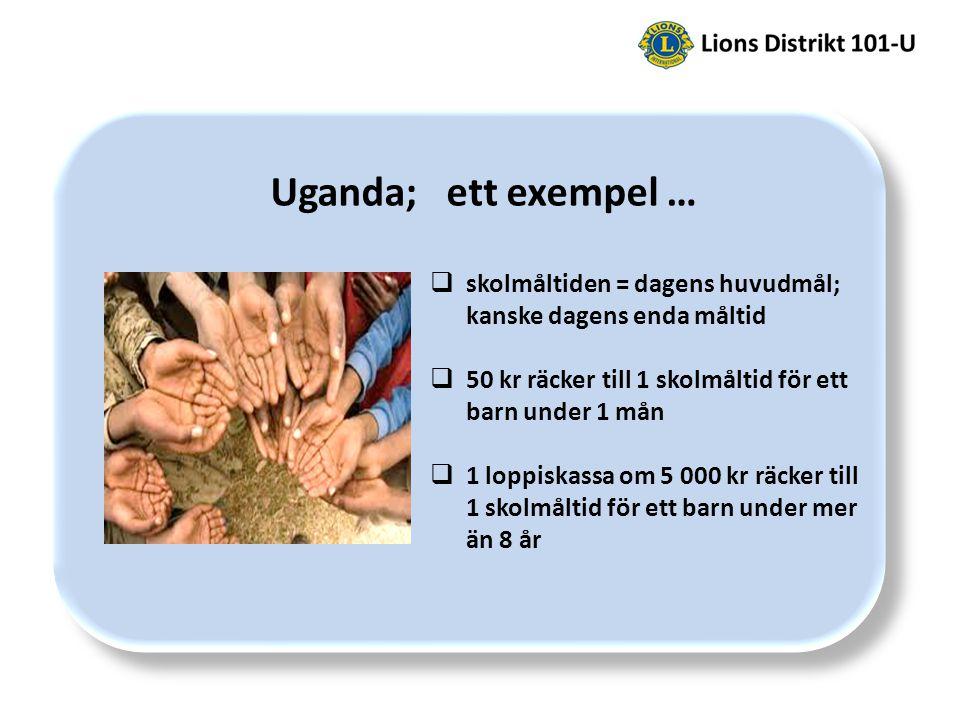 Uganda; ett exempel …  skolmåltiden = dagens huvudmål; kanske dagens enda måltid  50 kr räcker till 1 skolmåltid för ett barn under 1 mån  1 loppiskassa om 5 000 kr räcker till 1 skolmåltid för ett barn under mer än 8 år