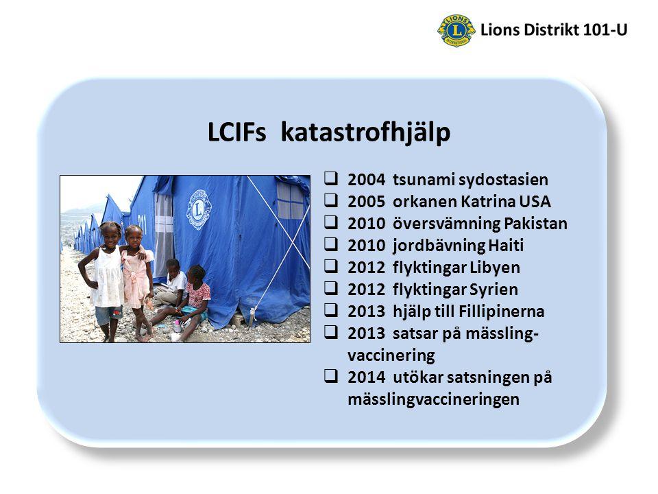 LCIFs katastrofhjälp  2004 tsunami sydostasien  2005 orkanen Katrina USA  2010 översvämning Pakistan  2010 jordbävning Haiti  2012 flyktingar Libyen  2012 flyktingar Syrien  2013 hjälp till Fillipinerna  2013 satsar på mässling- vaccinering  2014 utökar satsningen på mässlingvaccineringen