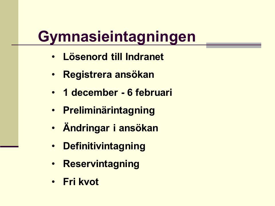 Lösenord till Indranet Registrera ansökan 1 december - 6 februari Preliminärintagning Ändringar i ansökan Definitivintagning Reservintagning Fri kvot Gymnasieintagningen