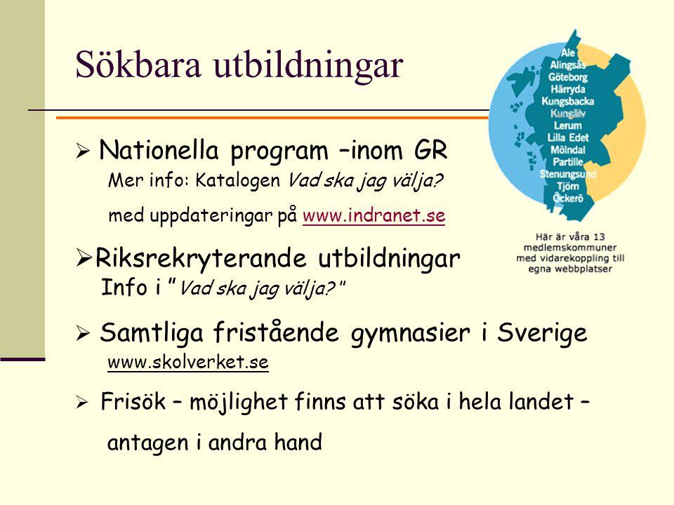 Sökbara utbildningar  Nationella program –inom GR Mer info: Katalogen Vad ska jag välja? med uppdateringar på www.indranet.sewww.indranet.se  Riksre
