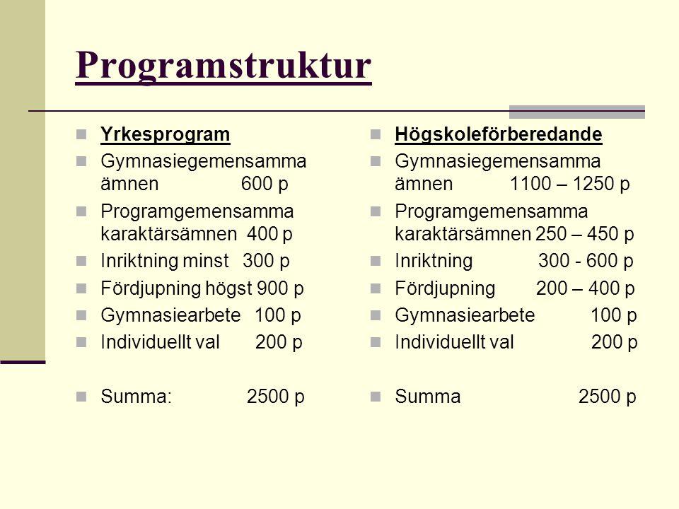 Programstruktur Yrkesprogram Gymnasiegemensamma ämnen 600 p Programgemensamma karaktärsämnen 400 p Inriktning minst 300 p Fördjupning högst 900 p Gymn