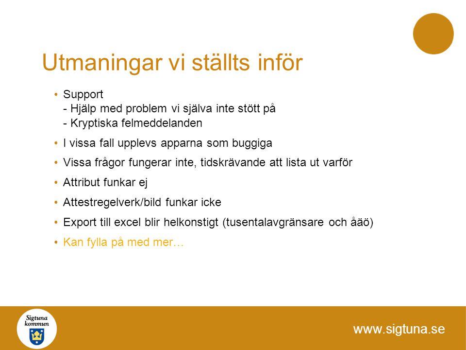 www.sigtuna.se Utmaningar vi ställts inför Support - Hjälp med problem vi själva inte stött på - Kryptiska felmeddelanden I vissa fall upplevs apparna