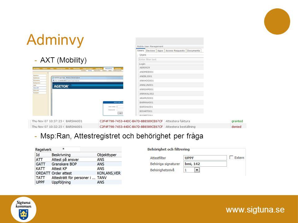 www.sigtuna.se Adminvy -AXT (Mobility) -Msp:Ran, Attestregistret och behörighet per fråga