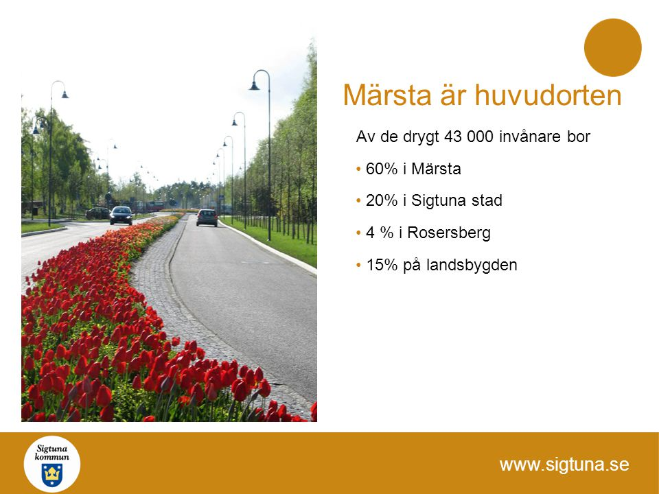 www.sigtuna.se Märsta är huvudorten Av de drygt 43 000 invånare bor 60% i Märsta 20% i Sigtuna stad 4 % i Rosersberg 15% på landsbygden