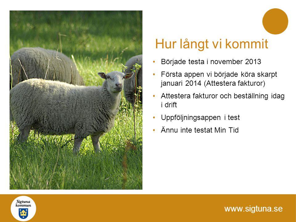 www.sigtuna.se Hur långt vi kommit Började testa i november 2013 Första appen vi började köra skarpt januari 2014 (Attestera fakturor) Attestera faktu