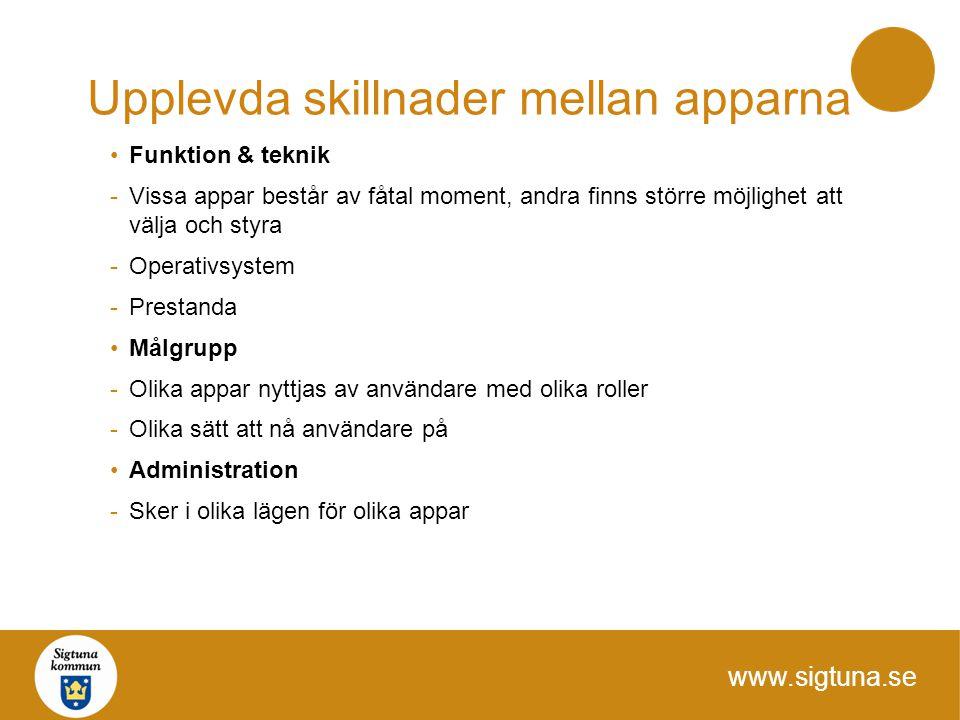 www.sigtuna.se Upplevda skillnader mellan apparna Funktion & teknik -Vissa appar består av fåtal moment, andra finns större möjlighet att välja och st