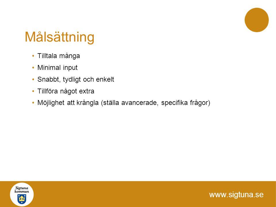 www.sigtuna.se Målsättning Tilltala många Minimal input Snabbt, tydligt och enkelt Tillföra något extra Möjlighet att krångla (ställa avancerade, spec