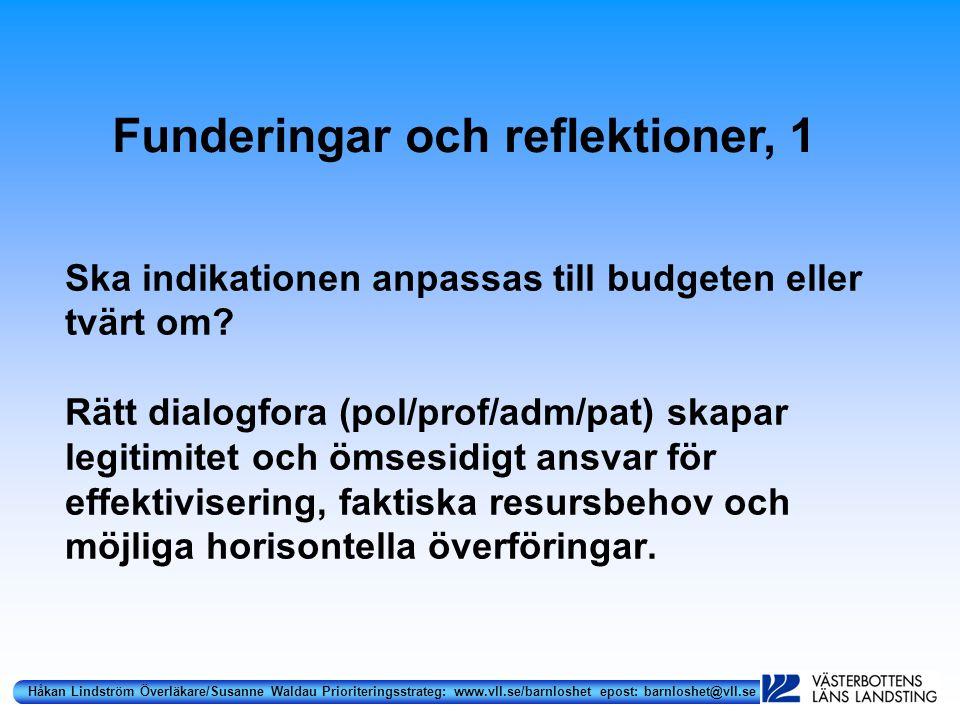 Håkan Lindström Överläkare/Susanne Waldau Prioriteringsstrateg: www.vll.se/barnloshet epost: barnloshet@vll.se Ska indikationen anpassas till budgeten eller tvärt om.