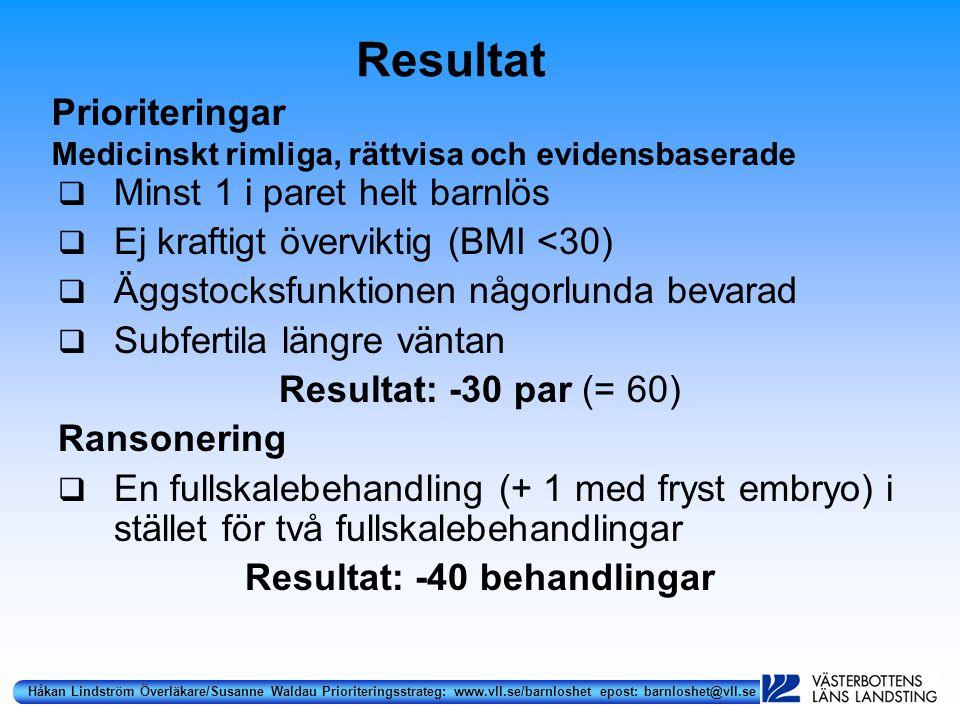 Håkan Lindström Överläkare/Susanne Waldau Prioriteringsstrateg: www.vll.se/barnloshet epost: barnloshet@vll.se Resultat  Minst 1 i paret helt barnlös  Ej kraftigt överviktig (BMI <30)  Äggstocksfunktionen någorlunda bevarad  Subfertila längre väntan Resultat: -30 par (= 60) Ransonering  En fullskalebehandling (+ 1 med fryst embryo) i stället för två fullskalebehandlingar Resultat: -40 behandlingar Prioriteringar Medicinskt rimliga, rättvisa och evidensbaserade