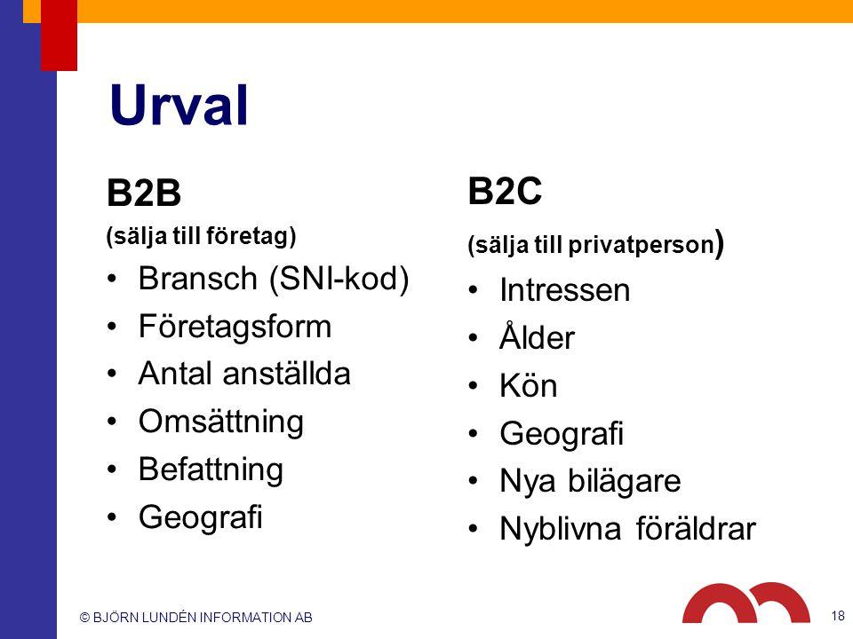© BJÖRN LUNDÉN INFORMATION AB Urval B2B (sälja till företag) Bransch (SNI-kod) Företagsform Antal anställda Omsättning Befattning Geografi B2C (sälja