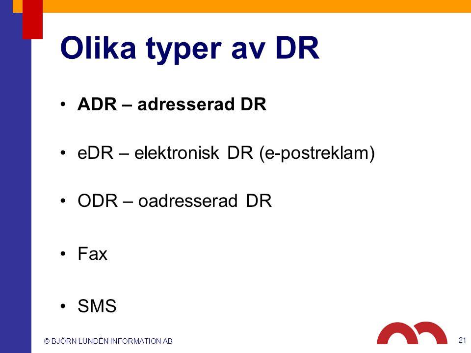 © BJÖRN LUNDÉN INFORMATION AB 21 ADR – adresserad DR eDR – elektronisk DR (e-postreklam) ODR – oadresserad DR Fax SMS Olika typer av DR