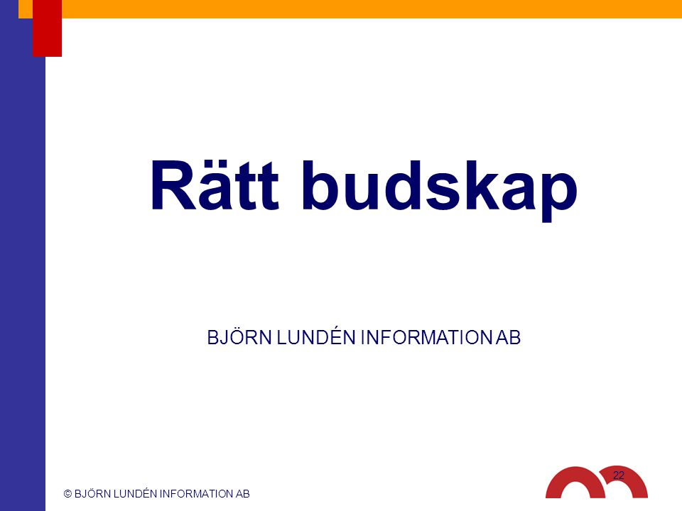 © BJÖRN LUNDÉN INFORMATION AB BJÖRN LUNDÉN INFORMATION AB Rätt budskap 22