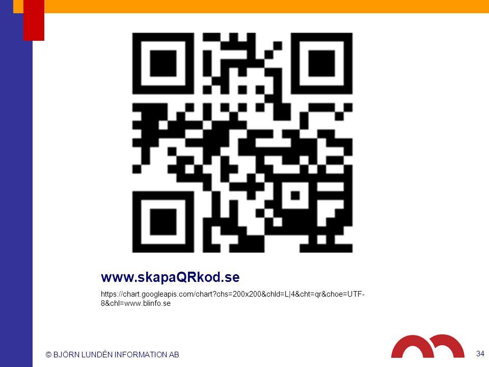 © BJÖRN LUNDÉN INFORMATION AB www.skapaQRkod.se https://chart.googleapis.com/chart?chs=200x200&chld=L|4&cht=qr&choe=UTF- 8&chl=www.blinfo.se 34