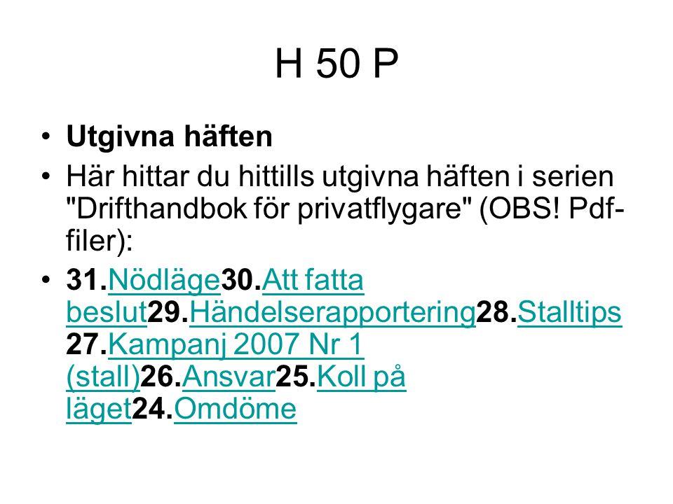 H 50 P Utgivna häften Här hittar du hittills utgivna häften i serien Drifthandbok för privatflygare (OBS.