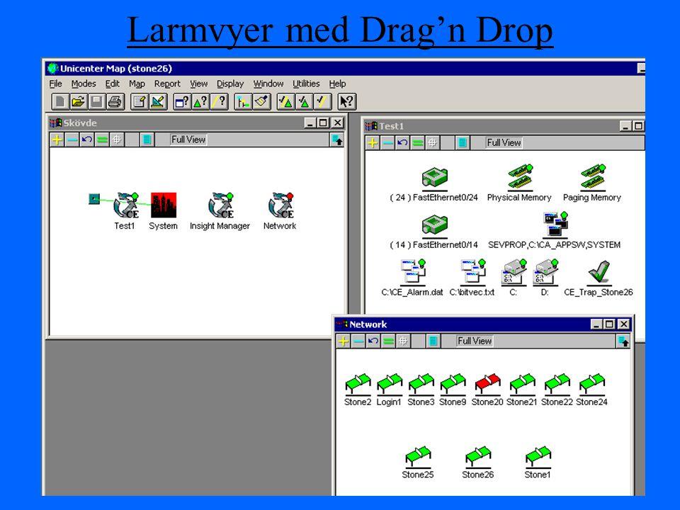 Larmvyer med Drag'n Drop