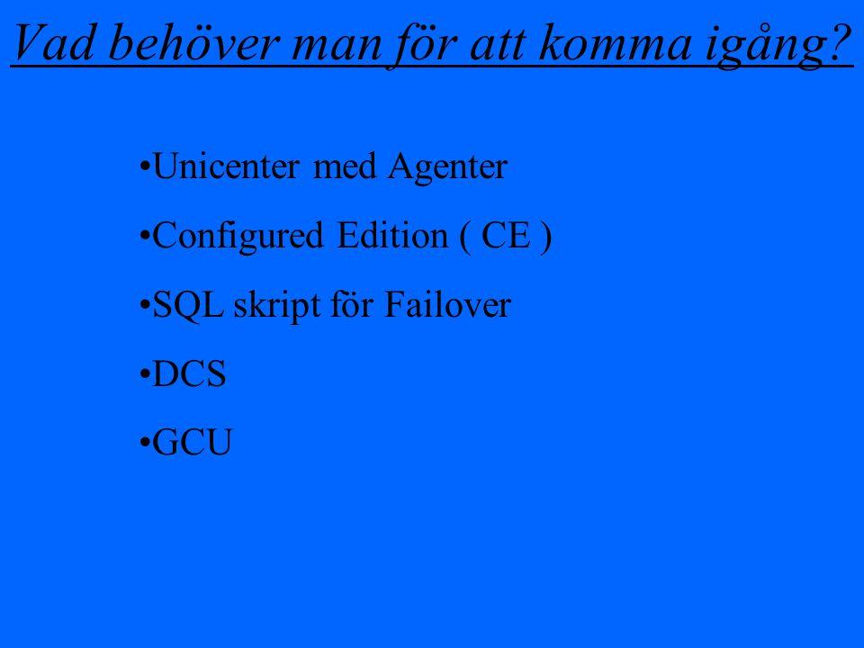 Vad behöver man för att komma igång? Unicenter med Agenter Configured Edition ( CE ) SQL skript för Failover DCS GCU