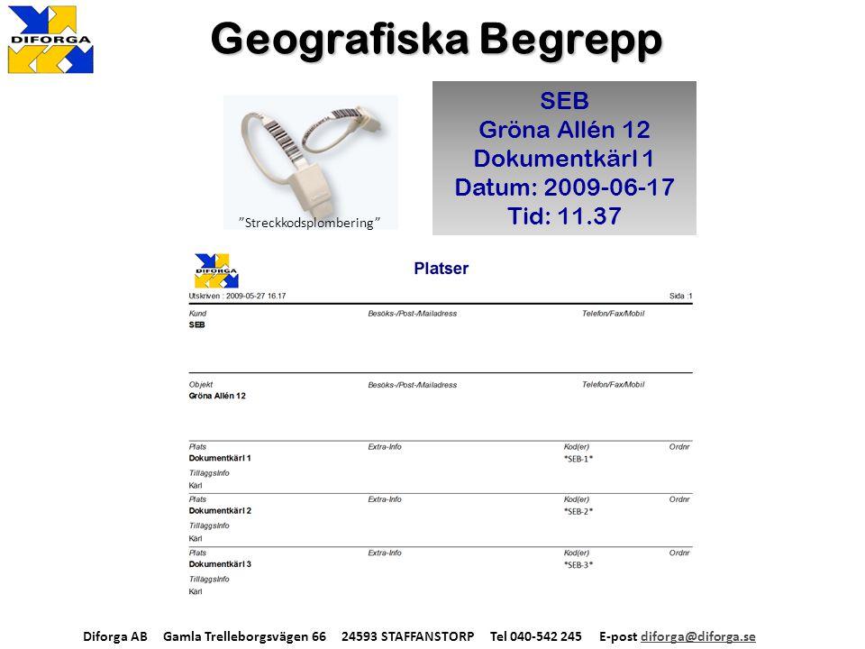 Geografiska Begrepp SEB Gröna Allén 12 Dokumentkärl 1 Datum: 2009-06-17 Tid: 11.37 Diforga AB Gamla Trelleborgsvägen 66 24593 STAFFANSTORP Tel 040-542 245 E-post diforga@diforga.sediforga@diforga.se Streckkodsplombering