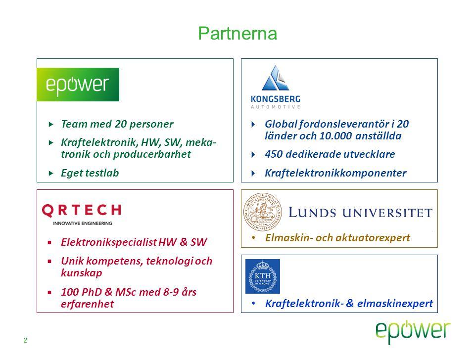 2 Partnerna  Elektronikspecialist HW & SW  Unik kompetens, teknologi och kunskap  100 PhD & MSc med 8-9 års erfarenhet  Global fordonsleverantör i