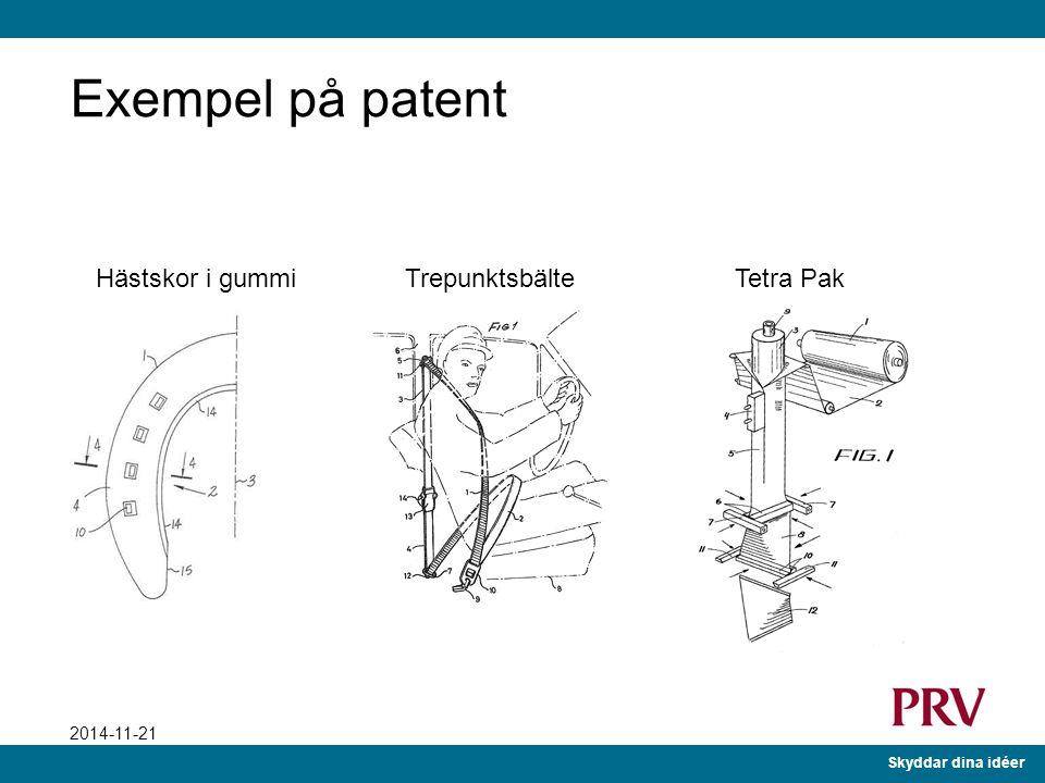 Skyddar dina idéer 2014-11-21 Kort om patent 20 års ensamrätt till kommersiellt skydd Motprestation från innovatören Offentliggöra tekniken Årlig avgi