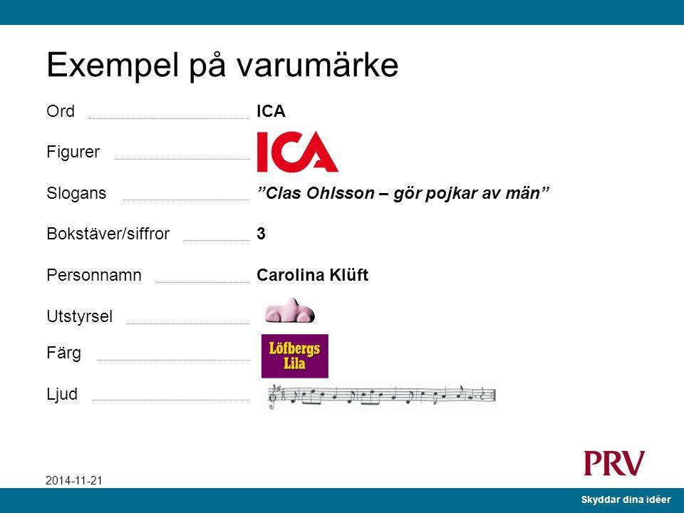 Skyddar dina idéer 2014-11-21 Ord ICA Figurer Slogans Clas Ohlsson – gör pojkar av män Bokstäver/siffror 3 Personnamn Carolina Klüft Utstyrsel Färg Ljud Exempel på varumärke