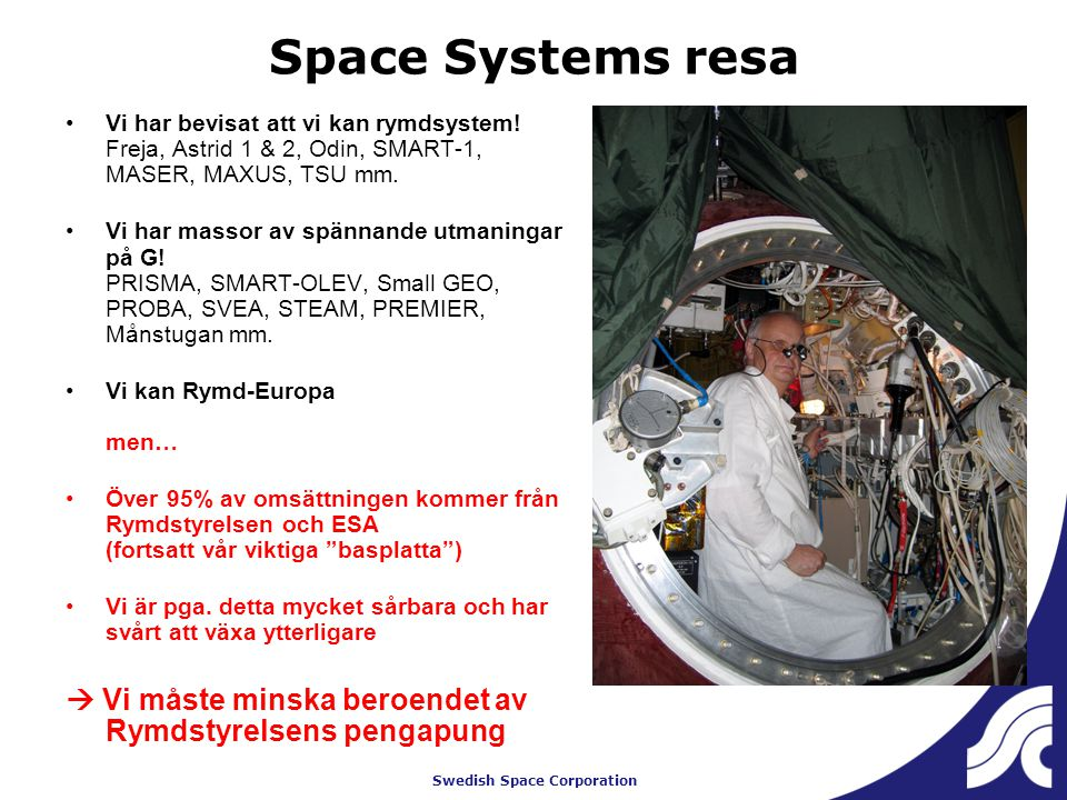 Swedish Space Corporation Space Systems resa Vi har bevisat att vi kan rymdsystem.