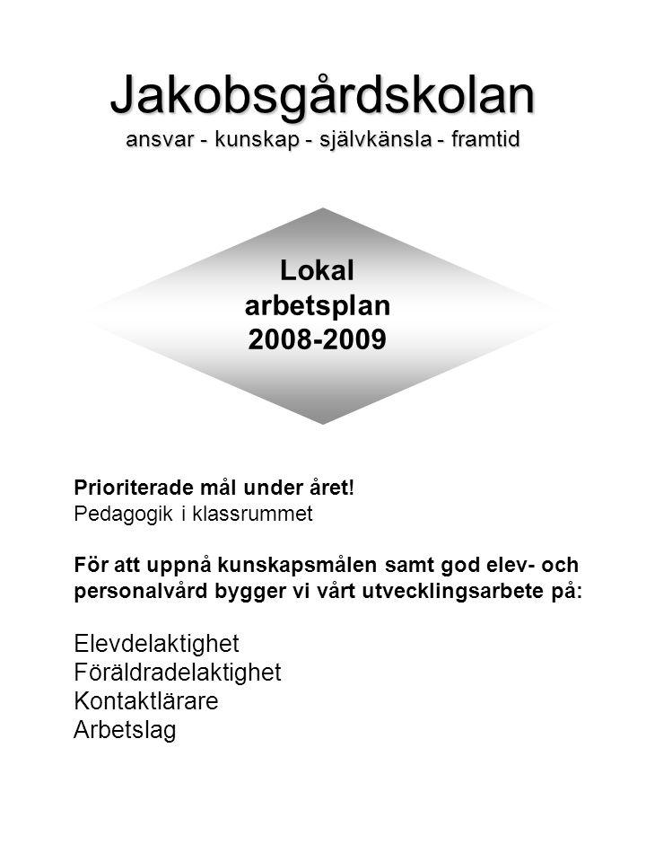 Jakobsgårdskolan ansvar - kunskap - självkänsla - framtid Lokal arbetsplan 2008-2009 Prioriterade mål under året.