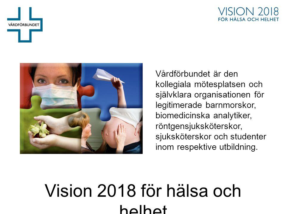Vision 2018 för hälsa och helhet Vårdförbundet är den kollegiala mötesplatsen och självklara organisationen för legitimerade barnmorskor, biomedicinsk