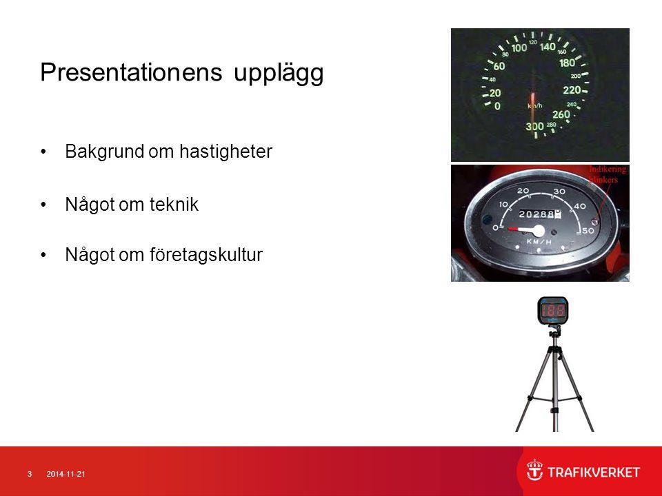 42014-11-21 Hastigheter 1 Energinivå/hastigheter är ett av de kraftfullaste sätten att förändra trafiksäkerhetsnivån Lägre hastigheter minskar antalet olyckor men antalet skador ännu mer 90 70 50 30