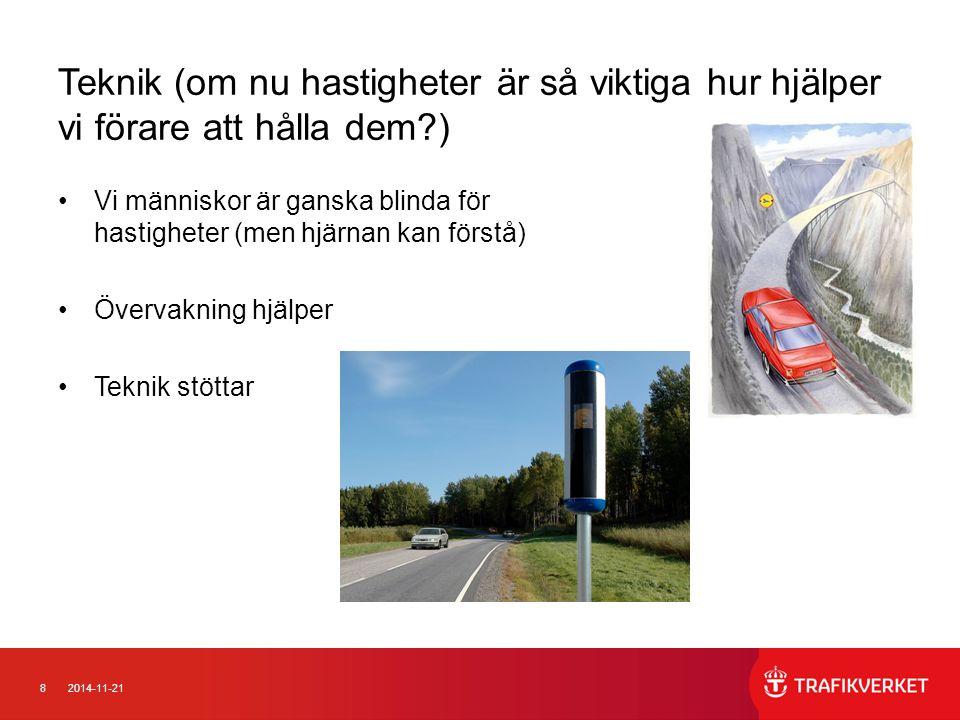 92014-11-21 Intelligent stöd för hastighetsanpassning 1 Om bilen vet vad det är för hastighetsgräns kan den: Berätta det för föraren Varna om det går för fort Automatiskt begränsa hastigheten Koppla ihop hastigheten med farthållaren