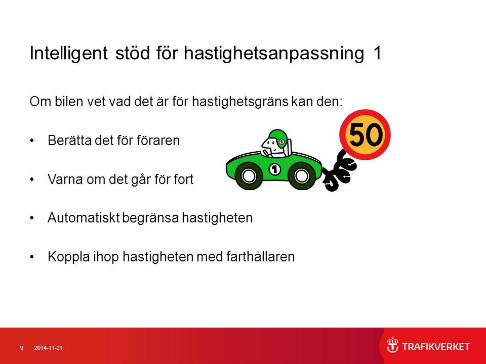 102014-11-21 Intelligent stöd för hastighetsanpassning 2 Historia: Flottförsök I handhållen navigationsutrustning Fordonsintegrerat (Digital karta och/eller kamera) Euro NCAP utarbetar protokoll
