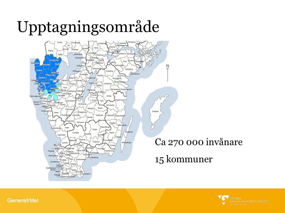 Generell titel Upptagningsområde Ca 270 000 invånare 15 kommuner