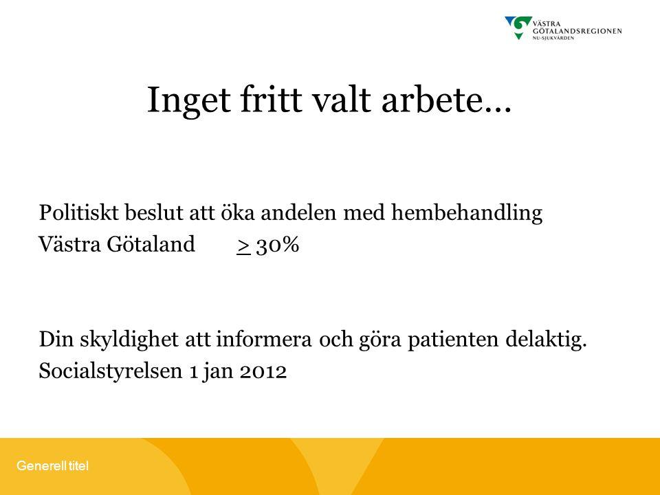 Generell titel Inget fritt valt arbete… Politiskt beslut att öka andelen med hembehandling Västra Götaland > 30% Din skyldighet att informera och göra