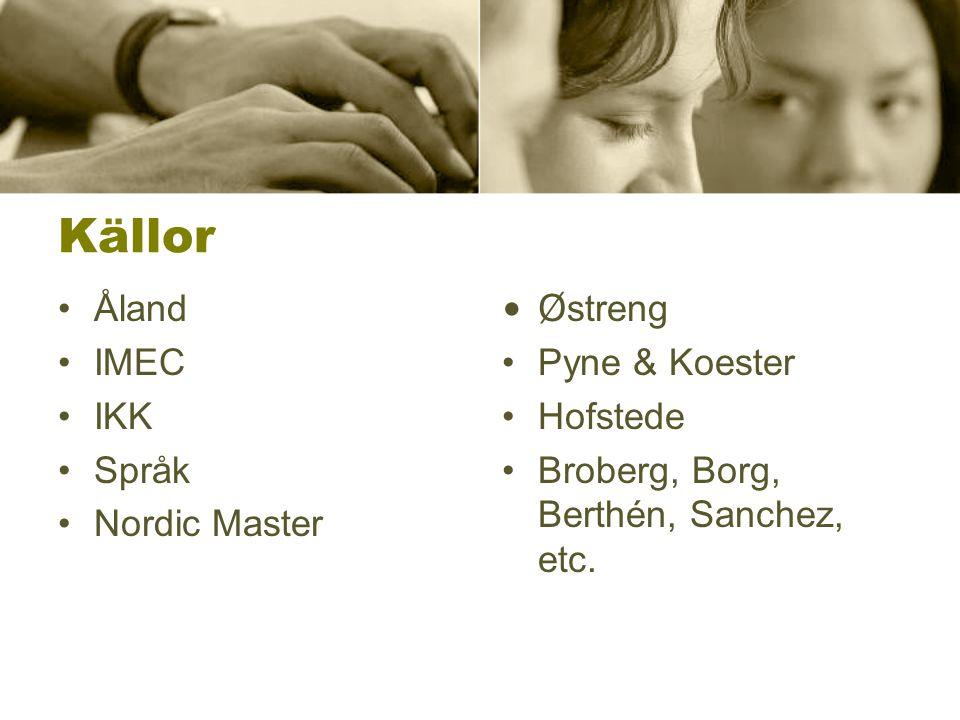 Källor Åland IMEC IKK Språk Nordic Master Ø streng Pyne & Koester Hofstede Broberg, Borg, Berthén, Sanchez, etc.