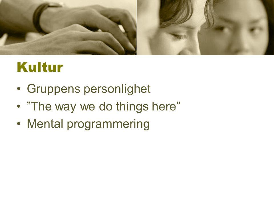 Kultur Gruppens personlighet The way we do things here Mental programmering