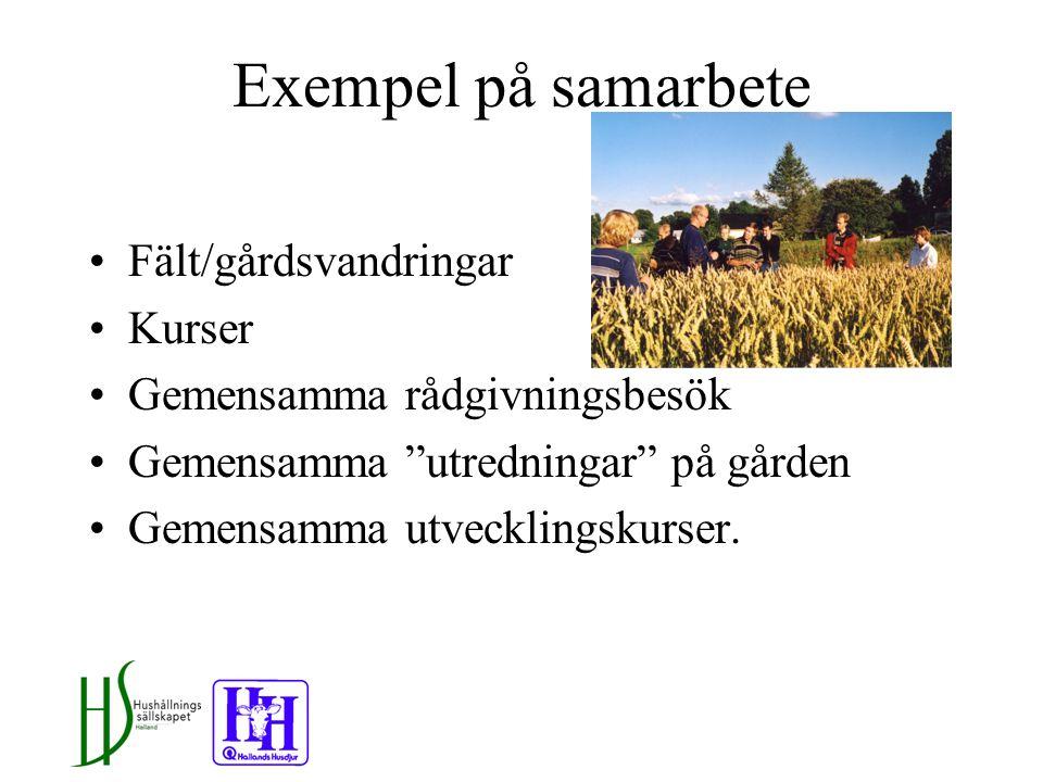 Exempel på samarbete Fält/gårdsvandringar Kurser Gemensamma rådgivningsbesök Gemensamma utredningar på gården Gemensamma utvecklingskurser.
