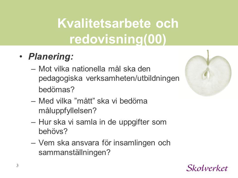 """3 Kvalitetsarbete och redovisning(00) Planering: –Mot vilka nationella mål ska den pedagogiska verksamheten/utbildningen bedömas? –Med vilka """"mått"""" sk"""