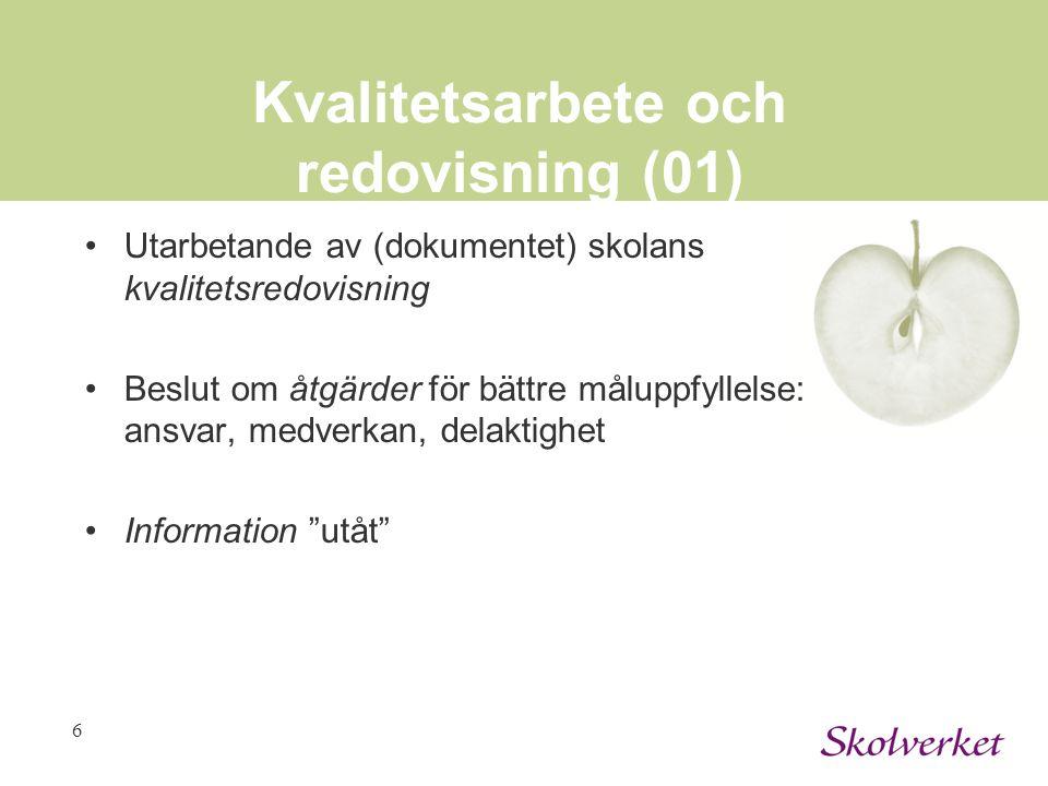 6 Kvalitetsarbete och redovisning (01) Utarbetande av (dokumentet) skolans kvalitetsredovisning Beslut om åtgärder för bättre måluppfyllelse: ansvar,