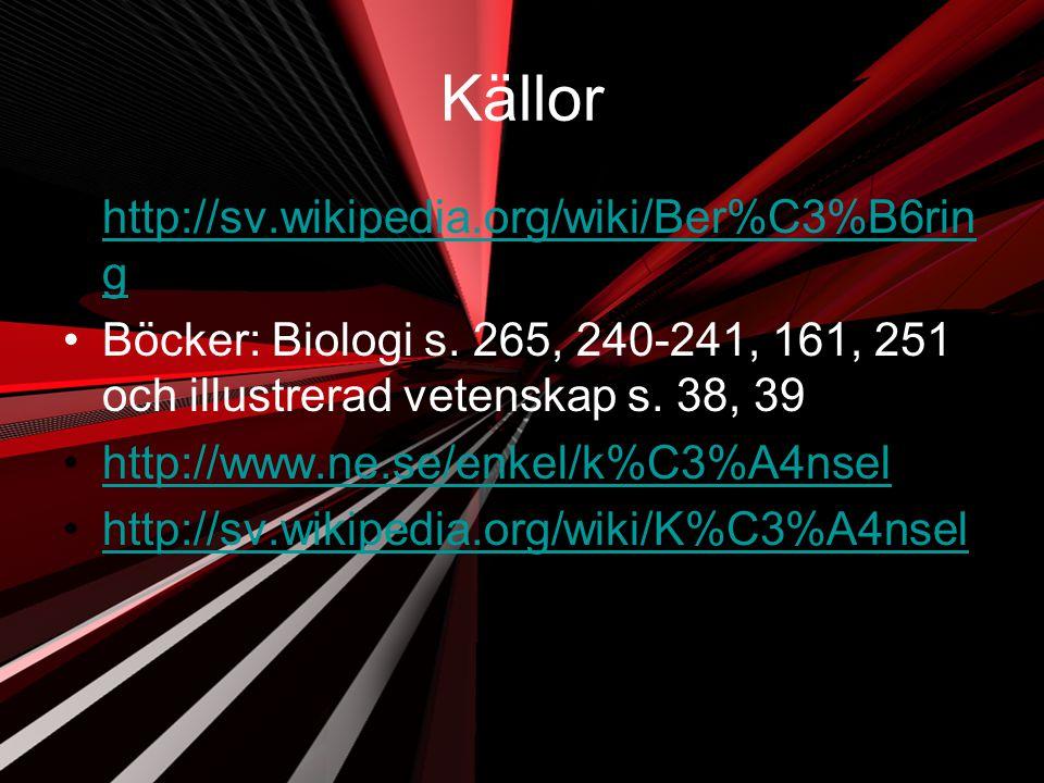 Källor http://sv.wikipedia.org/wiki/Ber%C3%B6rin ghttp://sv.wikipedia.org/wiki/Ber%C3%B6rin g Böcker: Biologi s. 265, 240-241, 161, 251 och illustrera