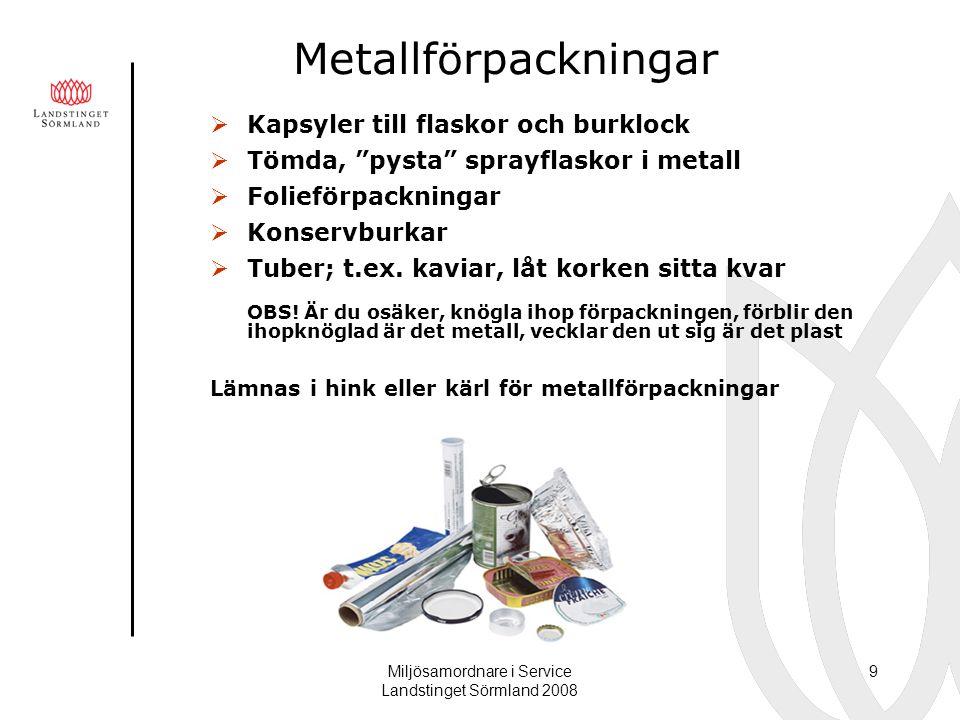"""Miljösamordnare i Service Landstinget Sörmland 2008 9 Metallförpackningar  Kapsyler till flaskor och burklock  Tömda, """"pysta"""" sprayflaskor i metall"""