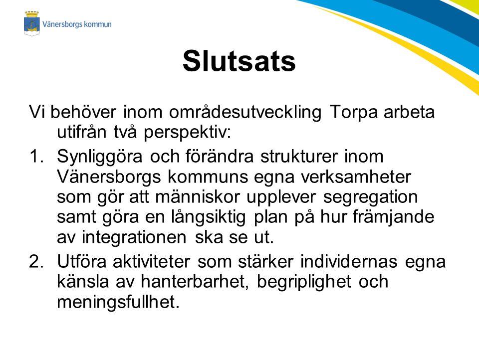 Slutsats Vi behöver inom områdesutveckling Torpa arbeta utifrån två perspektiv: 1.Synliggöra och förändra strukturer inom Vänersborgs kommuns egna ver