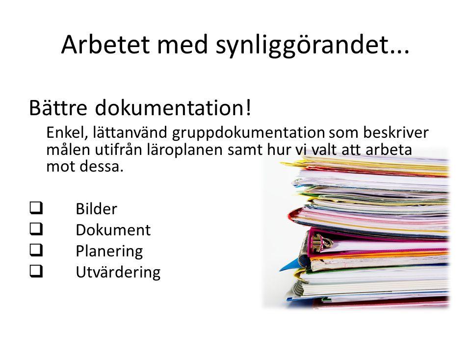 Arbetet med synliggörandet... Bättre dokumentation! Enkel, lättanvänd gruppdokumentation som beskriver målen utifrån läroplanen samt hur vi valt att a