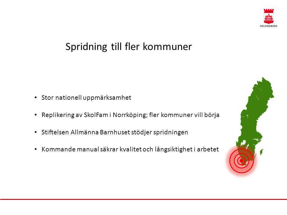 Spridning till fler kommuner Stor nationell uppmärksamhet Replikering av SkolFam i Norrköping; fler kommuner vill börja Stiftelsen Allmänna Barnhuset stödjer spridningen Kommande manual säkrar kvalitet och långsiktighet i arbetet