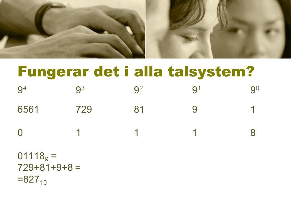 Fungerar det i alla talsystem? 94 93 92 91 9094 93 92 91 90 6561 729 81 9 1 0111801118 01118 9 = 729+81+9+8 = =827 10