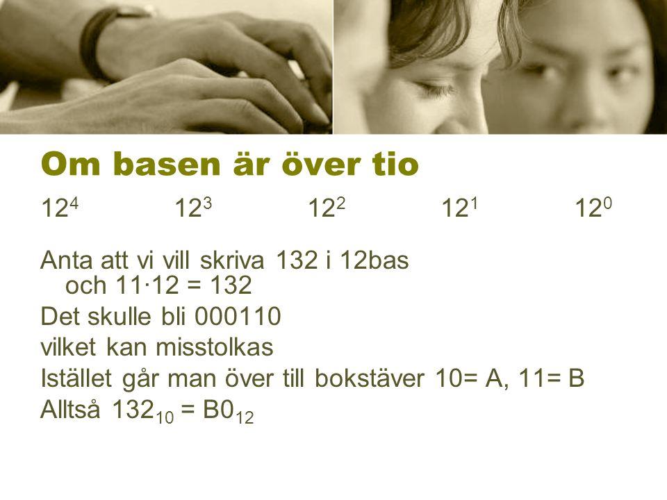 Om basen är över tio 12 4 12 3 12 2 12 1 12 0 Anta att vi vill skriva 132 i 12bas och 11∙12 = 132 Det skulle bli 000110 vilket kan misstolkas Istället