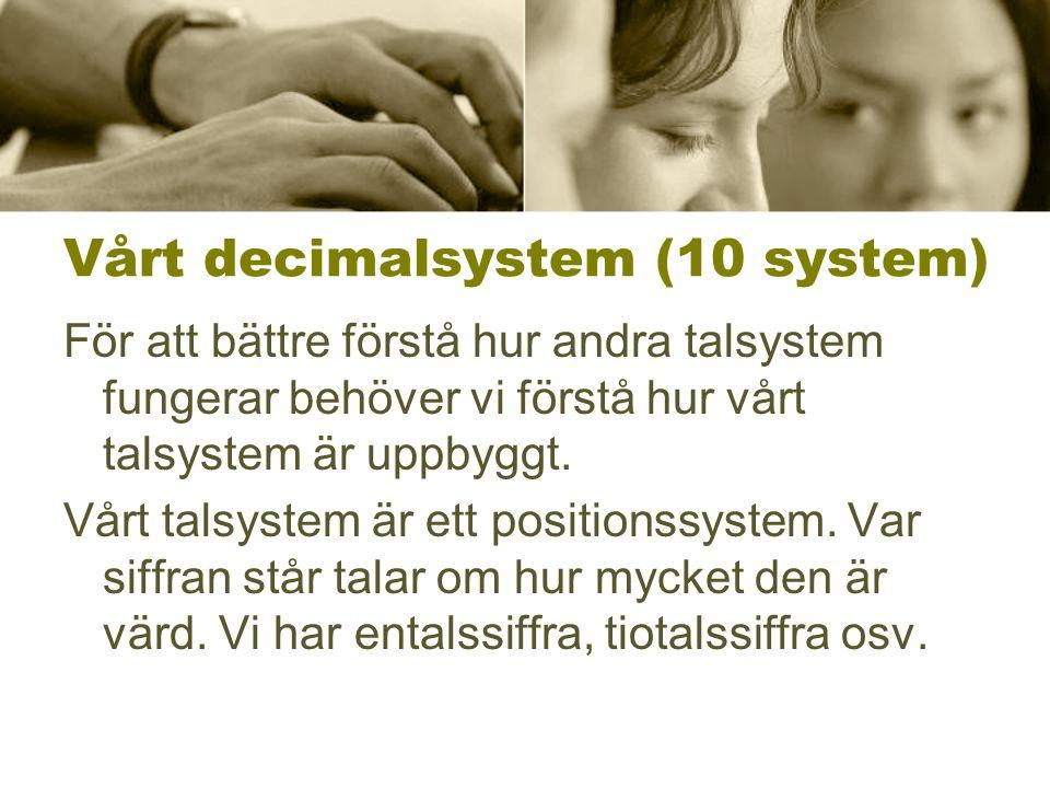 Vårt decimalsystem (10 system) För att bättre förstå hur andra talsystem fungerar behöver vi förstå hur vårt talsystem är uppbyggt. Vårt talsystem är