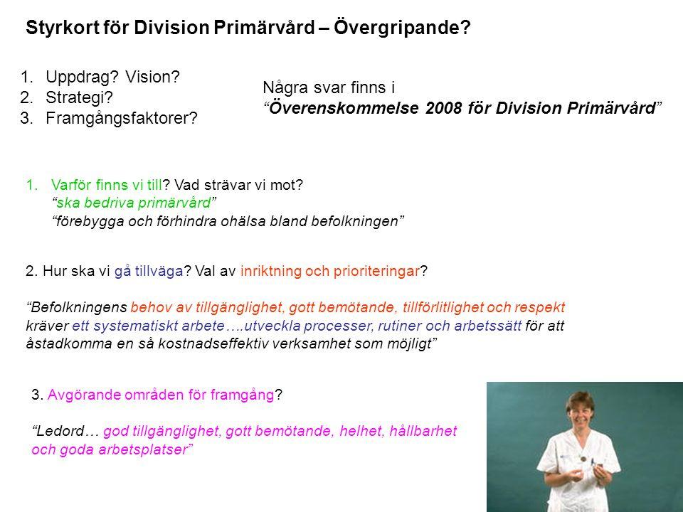 """Några svar finns i """"Överenskommelse 2008 för Division Primärvård"""" Styrkort för Division Primärvård – Övergripande? 1.Uppdrag? Vision? 2.Strategi? 3.Fr"""