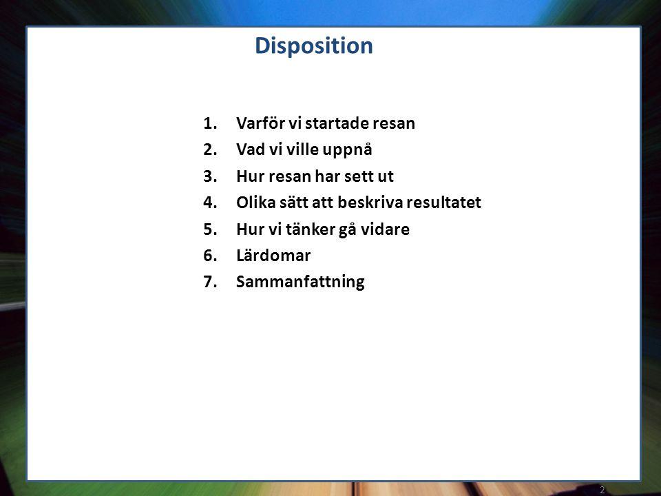 2 1.Varför vi startade resan 2.Vad vi ville uppnå 3.Hur resan har sett ut 4.Olika sätt att beskriva resultatet 5.Hur vi tänker gå vidare 6.Lärdomar 7.