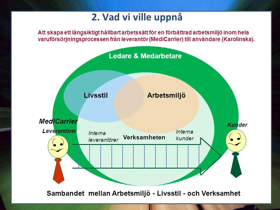 4 Att skapa ett långsiktigt hållbart arbetssätt för en förbättrad arbetsmiljö inom hela varuförsörjningsprocessen från leverantör (MediCarrier) till a