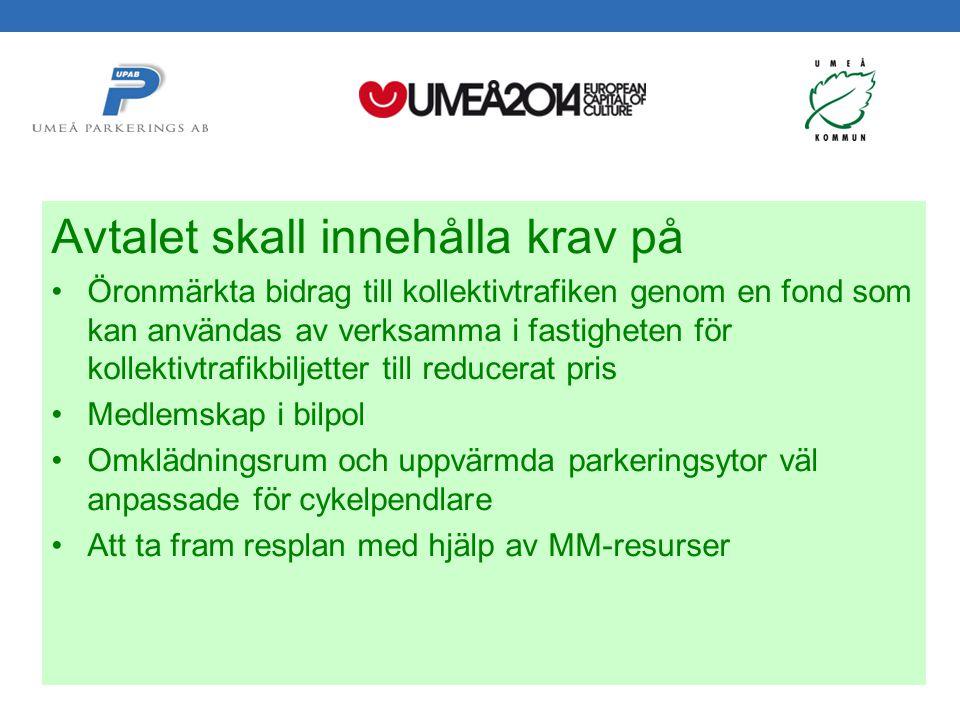 Svepark 2012-05-24 Håkan Gustafsson Umeå Parkerings AB Avtalet skall innehålla krav på Öronmärkta bidrag till kollektivtrafiken genom en fond som kan användas av verksamma i fastigheten för kollektivtrafikbiljetter till reducerat pris Medlemskap i bilpol Omklädningsrum och uppvärmda parkeringsytor väl anpassade för cykelpendlare Att ta fram resplan med hjälp av MM-resurser